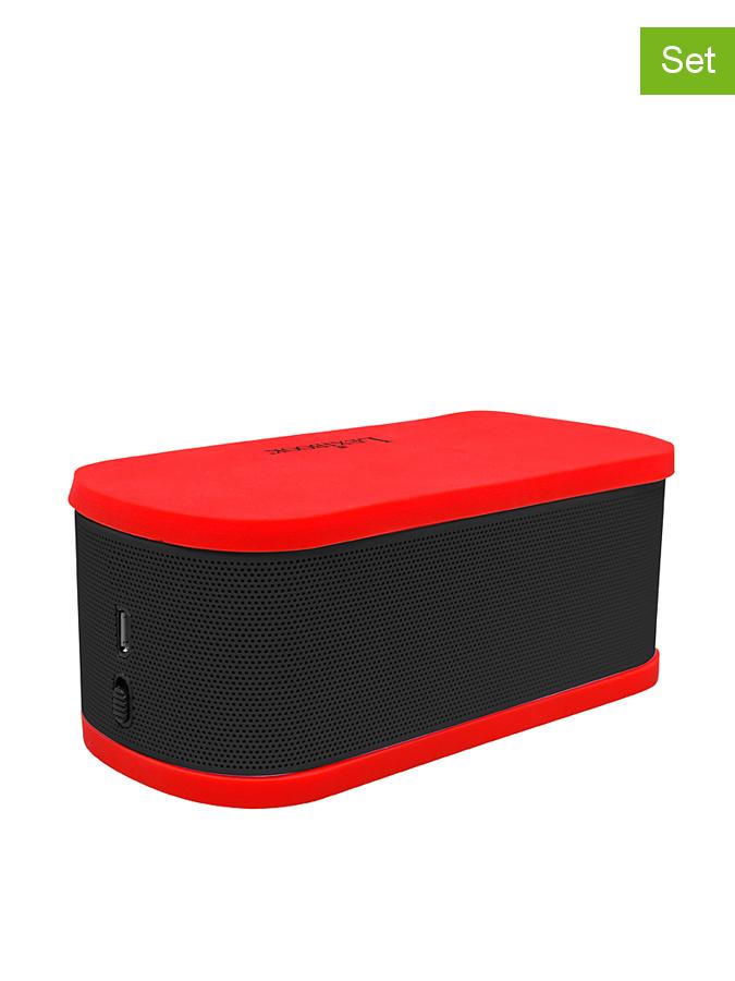 Lexibook 2er-Set: Mini-Bluetooth-Lautsprecher in Schwarz/ Rot -54% | Lautsprecher
