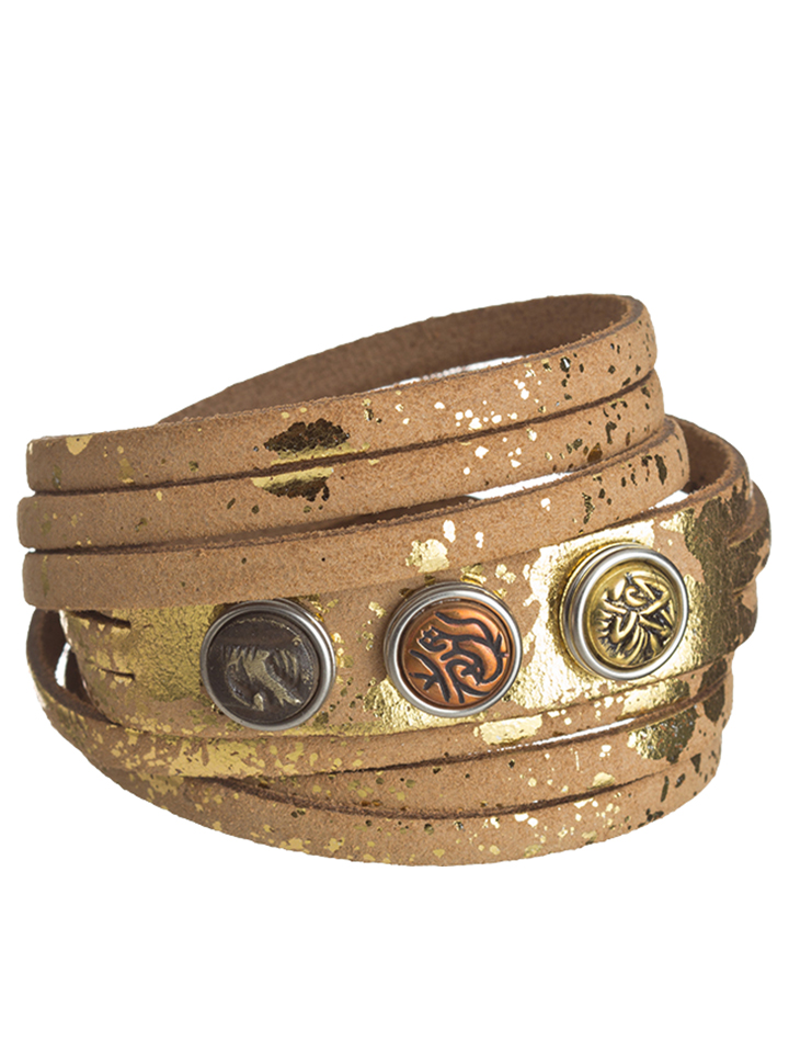 NOOSA Leder-Armband mit 3 Chunks in gold -67% |...