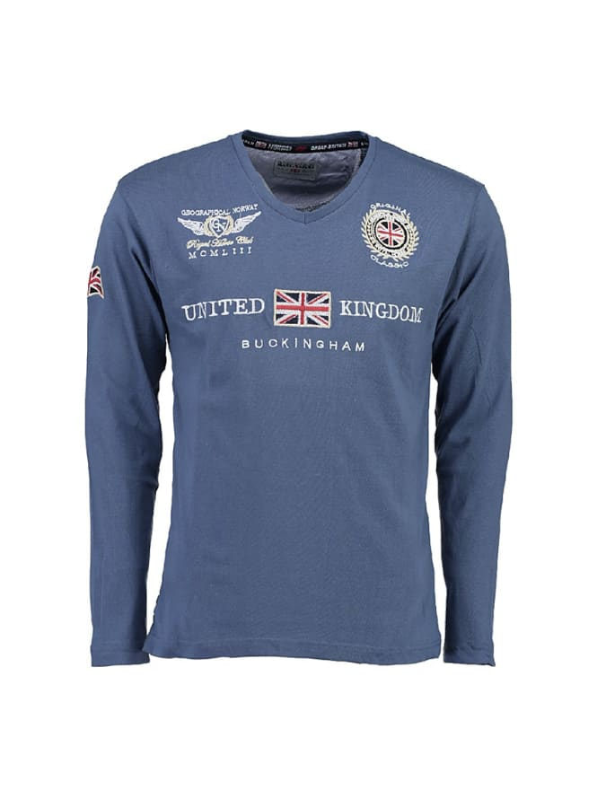Geographical Norway Longsleeve ´´Jacroche´´ in Blau - 62% | Größe S Herrenshirts