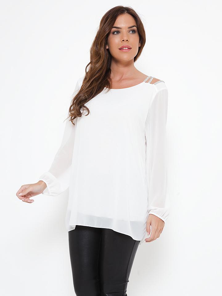She´s Secret Shirt ´´Claudia´´ in Weiß -65%   Größe S Langarm Tops Sale Angebote Gastrose-Kerkwitz