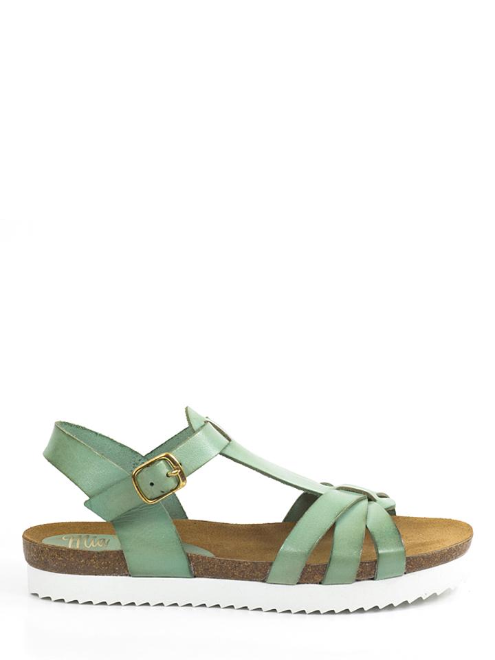 Mia Loé Leder-Sandalen in Mint -55% | Größe 38 Sandaletten Sale Angebote Cottbus