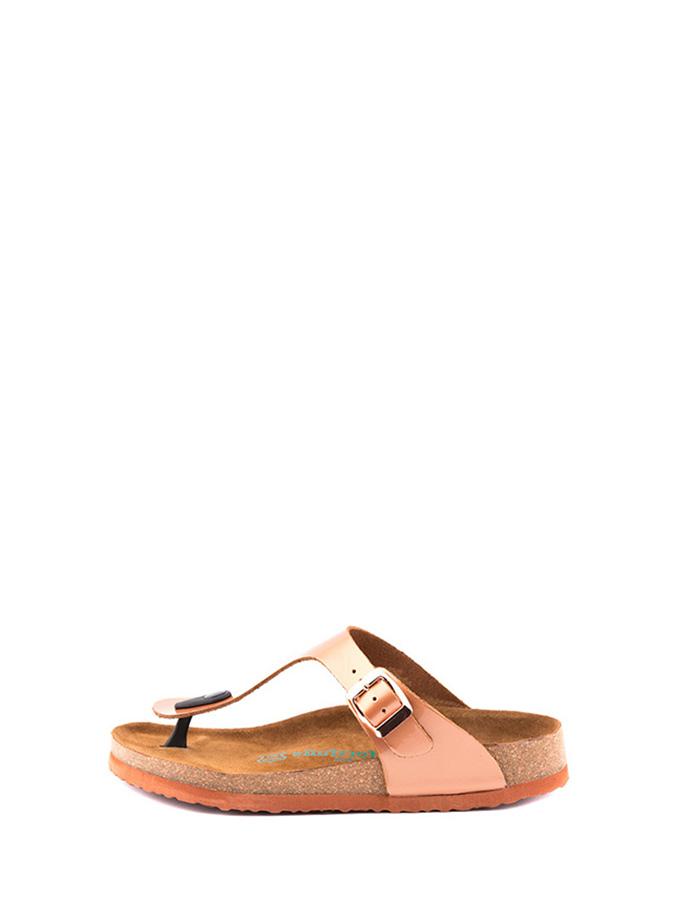 Comfortfusse Leder-Zehentrenner in Roségold - 69% | Größe 39 Damen sandalen