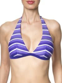 Skiny Triangel-Bikini-Oberteil in lila/ weiß