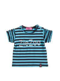 ZieZoo T-Shirt mit Aufschrift in marine/ türkis