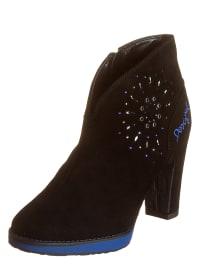 """Desigual Leder-Ankle-Boots """"Cristalone"""" in Schwarz"""