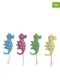 "Én Gry & Sif 4er-Set: Wandhaken ""Seahorses"" in Bunt - (H)15 cm"