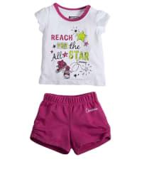 Converse Outfit: Shirt und Shorts in Weiß/ Fuchsia