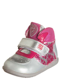 Agatha Ruiz de la Prada Leder-Sneaker in Silber/ Pink