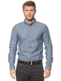Campus Hemd in Blau/ Weiß