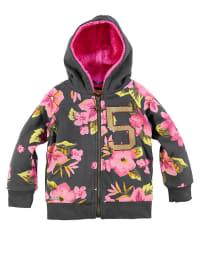 "Bondi Sweatjacke ""Blumendruck"" in Grau/ Pink"