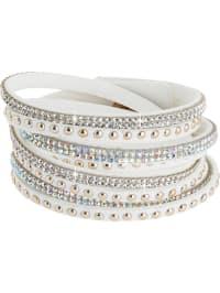 Destellos by Swarovski Elements Leder-Armband mit Swarovski-Kristallen in Weiß
