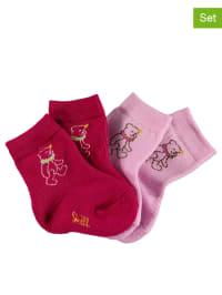 Steiff 2er-Set: Frottee-Socken in Fuchsia/ Rosa