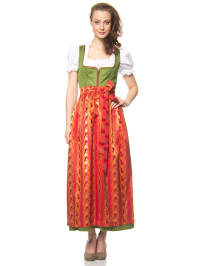 """Turi Landhaus Maxi-Dirndl """"Tine"""" in Grün/ Orange/ Rot"""