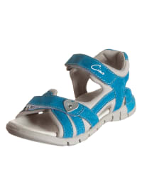 Ciao Leder-Sandalen in Blau/ Taupe
