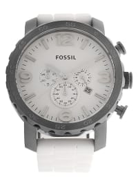 """Fossil Chronograph """"Nate"""" in Weiß/ Silber"""