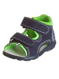 Richter Shoes Leder-Sandalen in Dunkelblau/ Neongrün