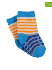 Sterntaler 2er-Set: Stopper-Socken in Orange/ Hellblau
