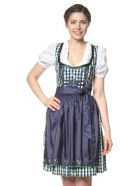 "LEKRA Mini-Dirndl ""Edith"" in Dunkelgrün/ Weiß/ Dunkelblau"