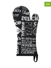 "Damai 2er-Set: Ofenhandschuhe ""Italian Food"" in Schwarz - (B)18 x (L)36 cm"