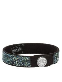 Swarovski Leder-Armband mit Swarovski-Kristallen in Schwarz