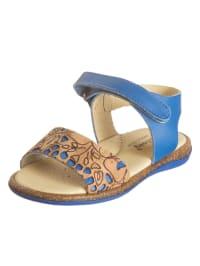 Billowy Leder-Sandalen in Blau/ Hellbraun