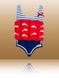 """Beverly Kids Badeanzug """"Marlene"""" mit Schwimmhilfe in Rot/ Weiß/ Blau"""