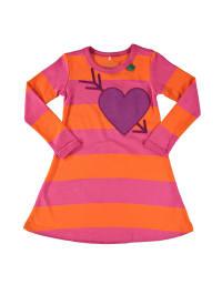 Green Cotton Kleid in Orange/ Pink/ Lila
