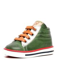 Naturino Leder-Sneakers in Grün/ Weiß