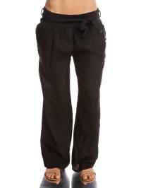 100% Linen Leinen-Hose in Schwarz