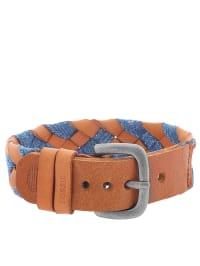 Fossil Leder-Armband in Braun/ Blau