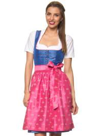 """Turi Landhaus Midi-Dirndl """"Thea"""" in Blau/ Pink"""
