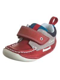 Clarks Leder-Sneakers in Rot/ Grau/ Dunkelblau