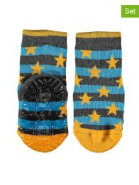 Sterntaler 2er-Set: Anti-Rutsch-Socken in Gelb/ Grau/ Hellblau