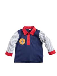 Puk Design Poloshirt in blau/ rot/ grau