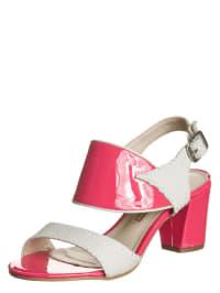 Buffalo Leder-Sandaletten in weiß/ pink